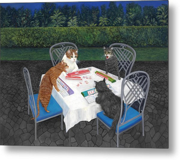 Metal Print featuring the painting Meowjongg - Cats Playing Mahjongg by Karen Zuk Rosenblatt