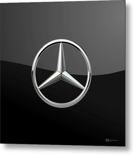 Mercedes-benz - 3d Badge On Black Metal Print