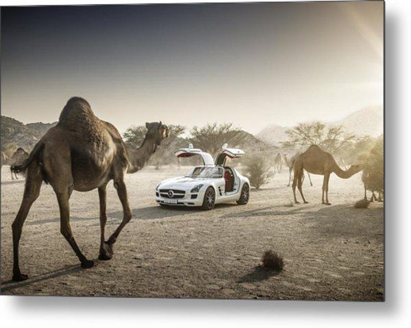 Mercedes Benz Sls Amg Camels Metal Print
