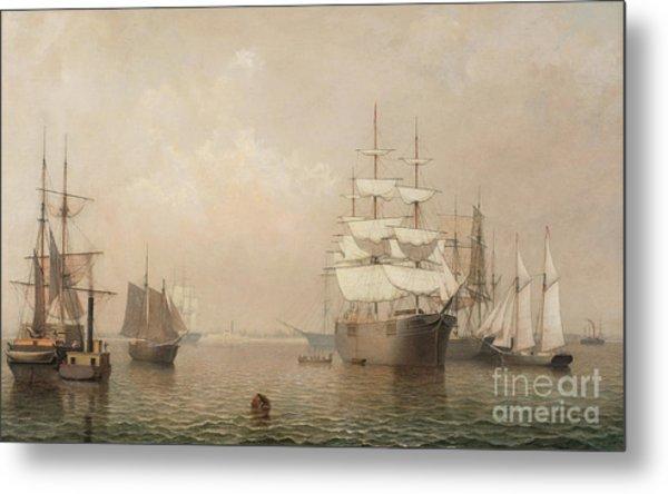 Merchantmen Off Boston Harbor Metal Print