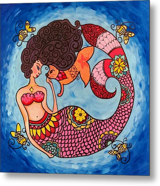 Mermaid And Catfish Metal Print