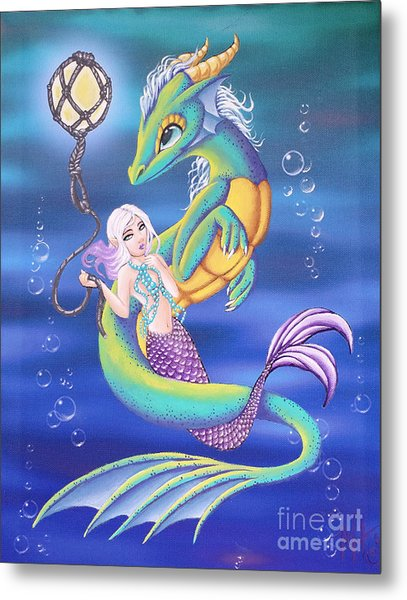 Metal Print featuring the painting Mermaid And Sea Dragon by Mary Hoy