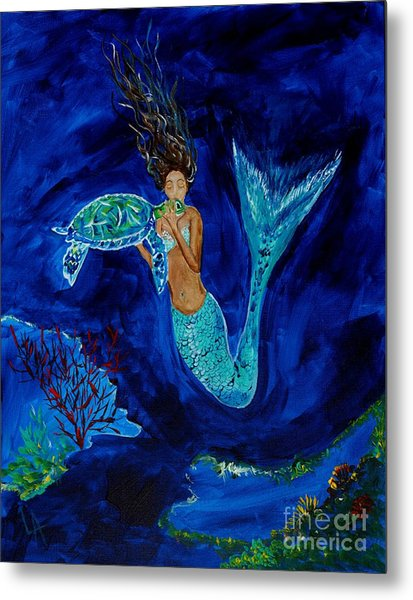 Mermaid And The Sea Turtle Metal Print