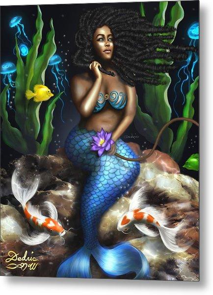 Metal Print featuring the digital art Yemaya Mermaid  by Dedric Artlove W