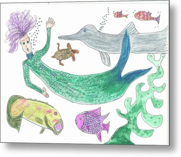 Mermaid Hello Metal Print