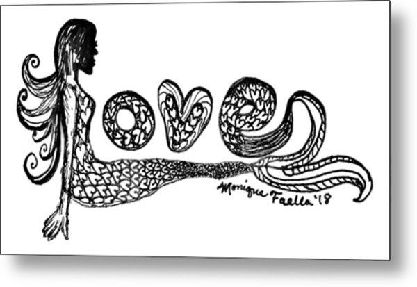 Mermaid Love Metal Print