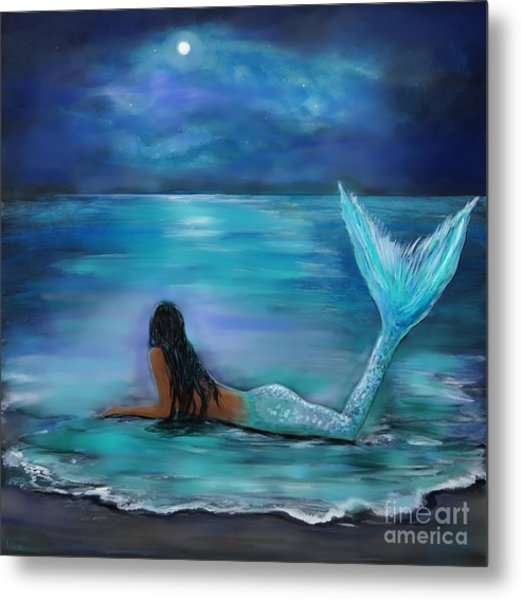 Mermaid Moon And Stars Metal Print