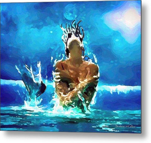 Mermaid Under The Moonlight Metal Print