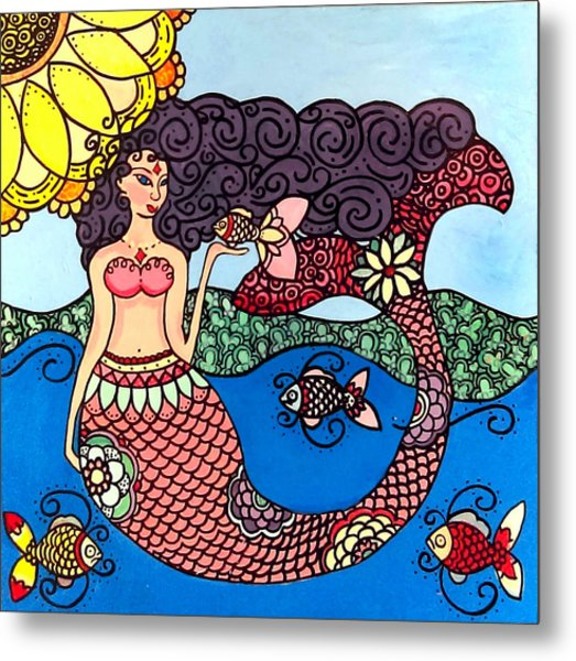 Mermaid With Fish Metal Print
