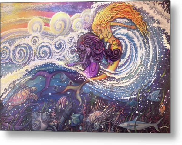 Mermaids In The Surf Metal Print