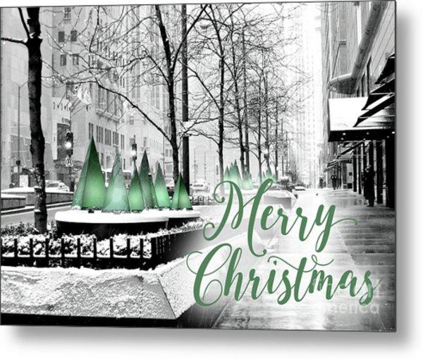 Merry Christmas Chicago Metal Print