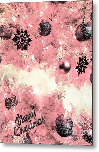Merry Christmas In Pink Metal Print