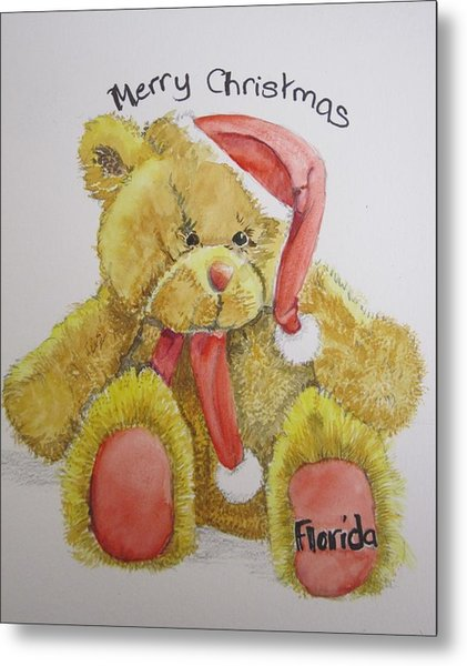 Merry Christmas Teddy  Metal Print