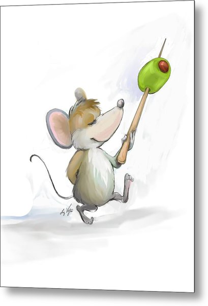 Merry Mouse Moe With Olive Metal Print