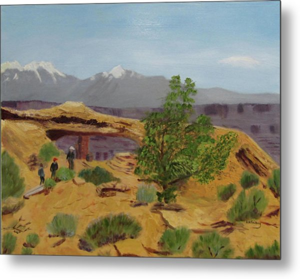 Metal Print featuring the painting Mesa Arch by Linda Feinberg