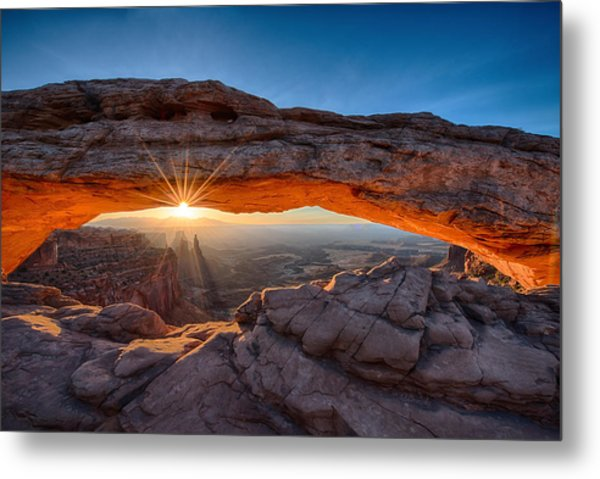 View Through The Mesa Arch At  Sunrise Metal Print
