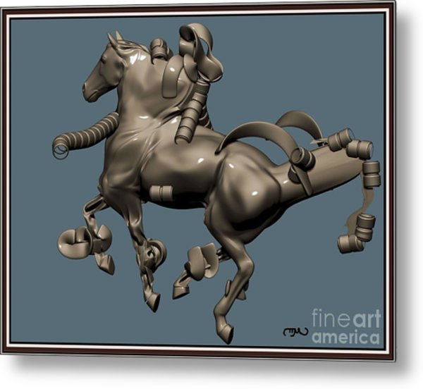 metal horse statue 40MHS1 Metal Print by Pemaro