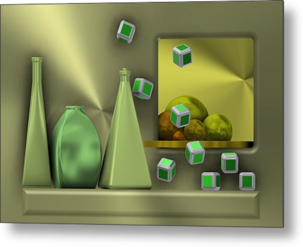 Metal Print featuring the digital art Metalic Still Life With Cubes Flying by Alberto RuiZ