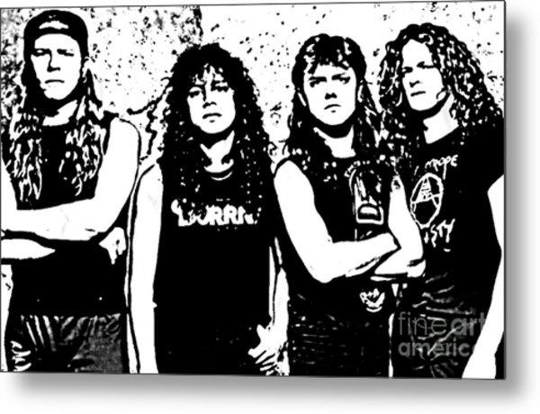 Metallica Poster In Ink Metal Print