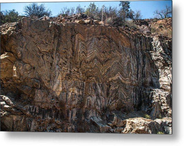 Metamorphic Geologic Wall In Kings Canyon Giant Sequoia National Monument Sequoia National Forest Metal Print