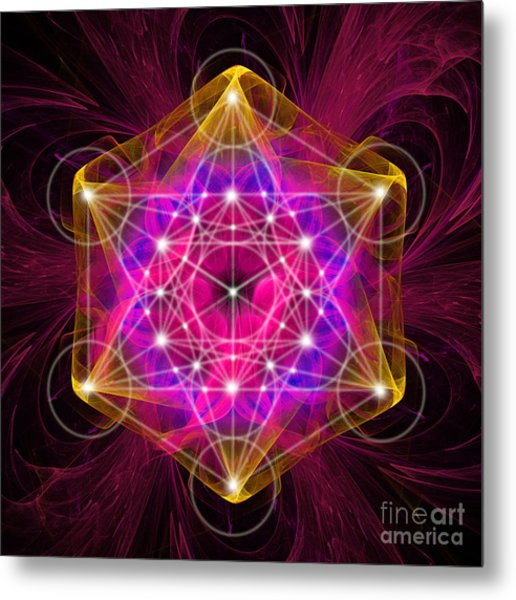 Metatron's Cube With Flower Of Life Metal Print