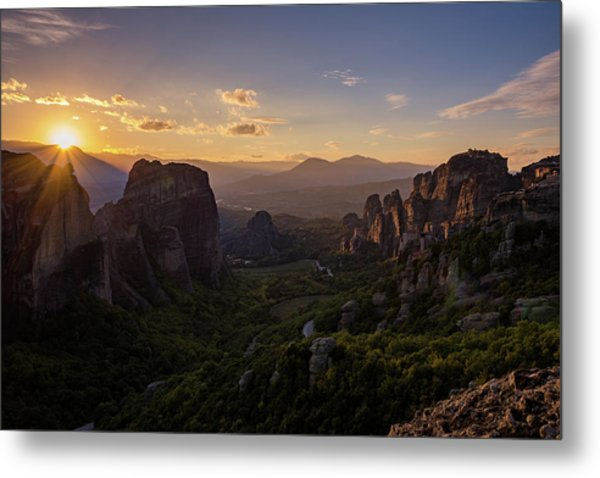 Metal Print featuring the photograph Meteora Sunset by Nikos Stavrakas