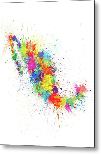 Mexico Paint Splashes Map Metal Print