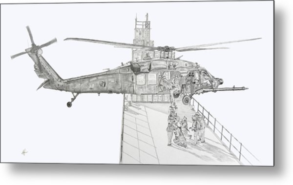 Mh-60 At Work Metal Print