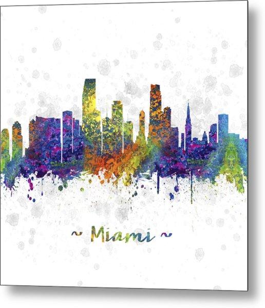 Miami Florida Skyline Color 03sq Metal Print