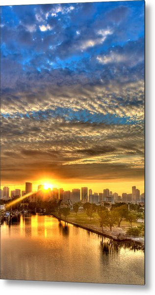 Miami River Sunrise Metal Print by William Wetmore