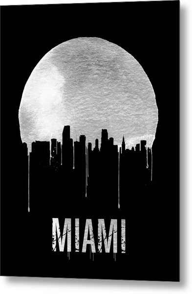 Miami Skyline Black Metal Print