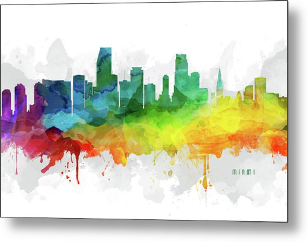 Miami Skyline Mmr-usflmi05 Metal Print