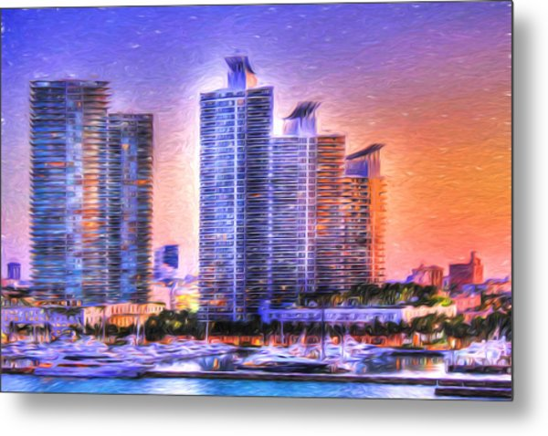 Miami Skyline Sunrise Metal Print
