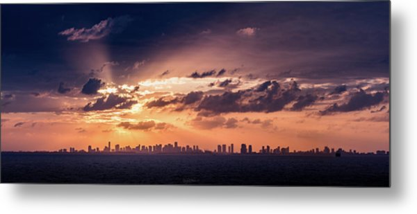 Miami Sunset Pano Metal Print