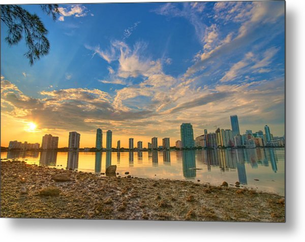 Miami Sunset Metal Print by William Wetmore