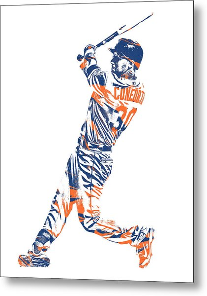 Michael Conforto New York Mets Pixel Art 1 Metal Print