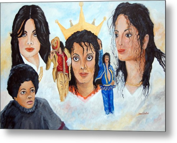 Michael Jackson-faces Metal Print by Janna Columbus