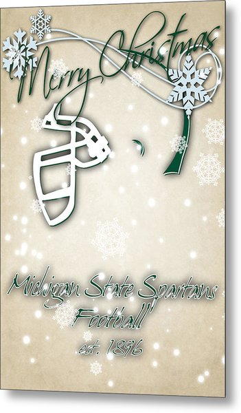 Michigan State Spartans Christmas Card 2 Metal Print