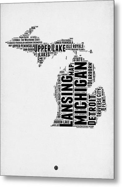 Michigan Word Cloud Map 2 Metal Print