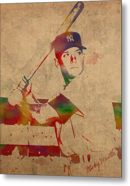 Mickey Mantle New York Yankees Baseball Player Watercolor Portrait On Distressed Worn Canvas Metal Print