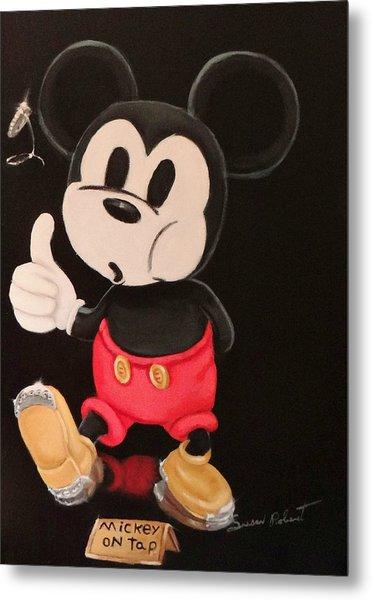 Mickey On Tap Metal Print