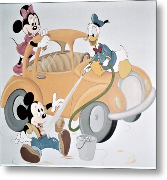 Micky,minnie And Donald On Car Metal Print