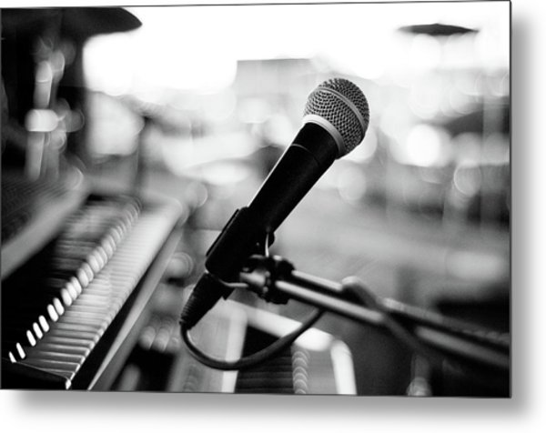 Microphone On Empty Stage Metal Print