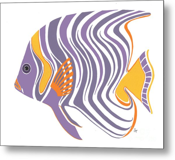Mid Century Purple Fish Metal Print