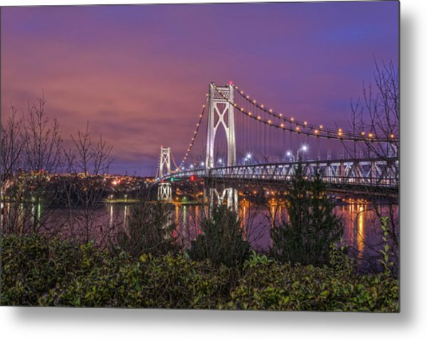 Mid Hudson Bridge At Twilight Metal Print