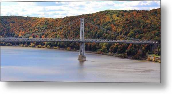 Mid Hudson Bridge In Autumn Metal Print
