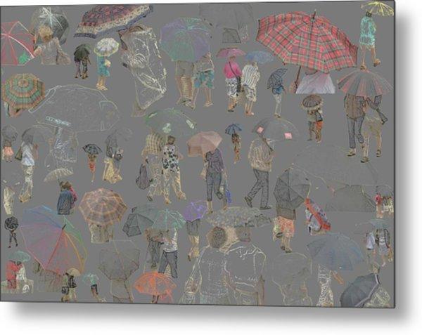 Middelkerke Umbrellas Metal Print by Dominique De Leeuw