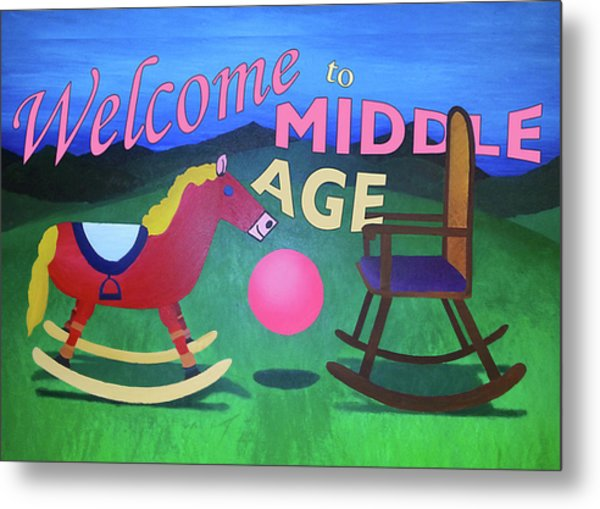Middle Age Birthday Card Metal Print