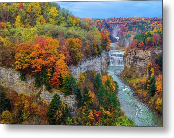 Middle Falls Peak Metal Print
