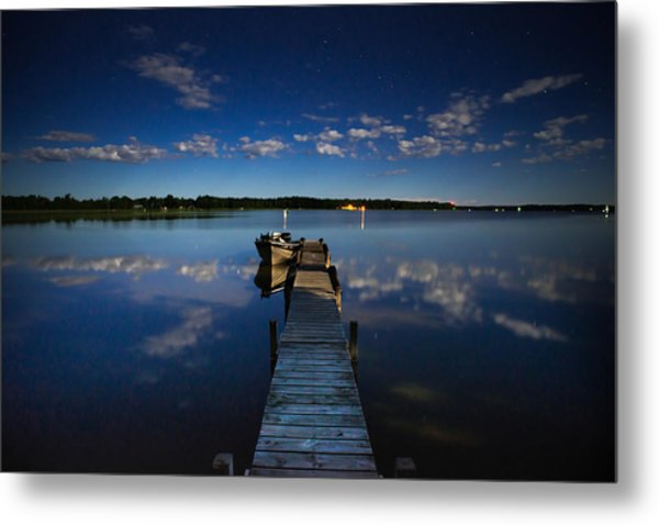 Midnight At Shady Shore On Moose Lake Minnesota Metal Print